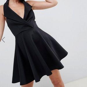 ASOS Petite Black Tuxedo Halter Dress Size 6